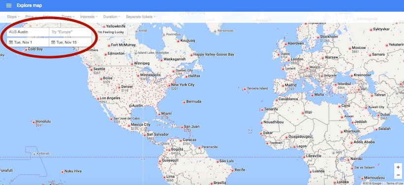 finding cheap flights using google flights