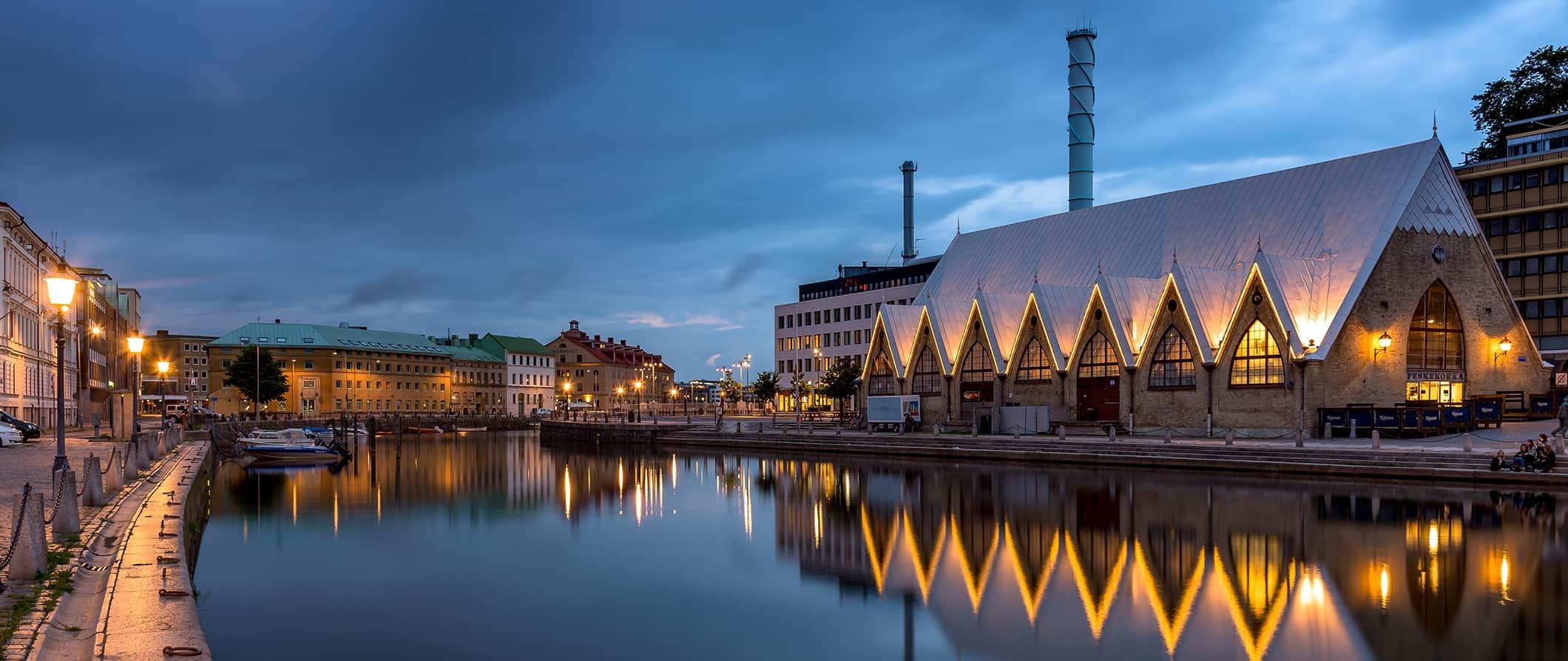 Gothenburg's waterfront lit up at night