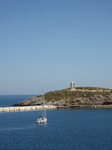 view of the harbor; Naxos, Greece