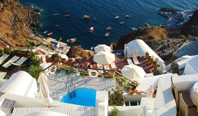 Looking at the traditional houses and coastline of Santorini, Greece