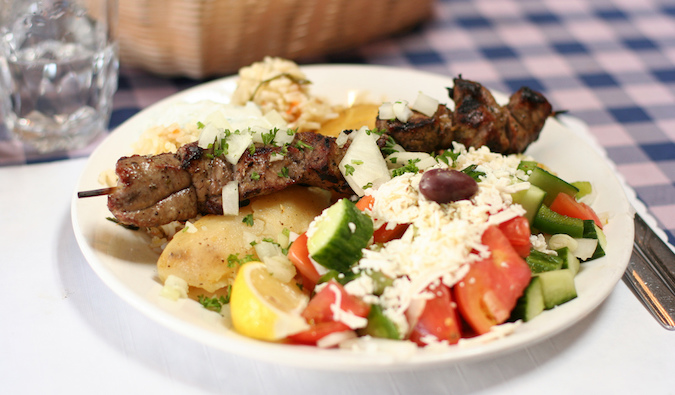 Souvlaki meal with side dishes