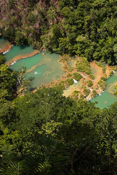The pools of Semuc Champey in Guatemala
