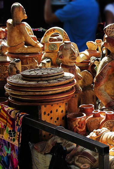 goods for sale at Chichicastenango market in Guatemala.