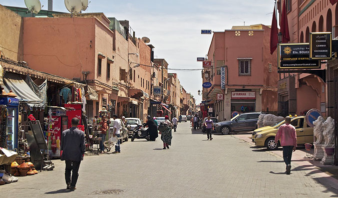 busy street in morocco