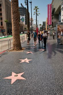 The walk of fame and all of it's stars in Hollywood, L.A.