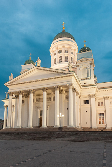 The towering Helsinki Cathedral in Helsinki, Finland