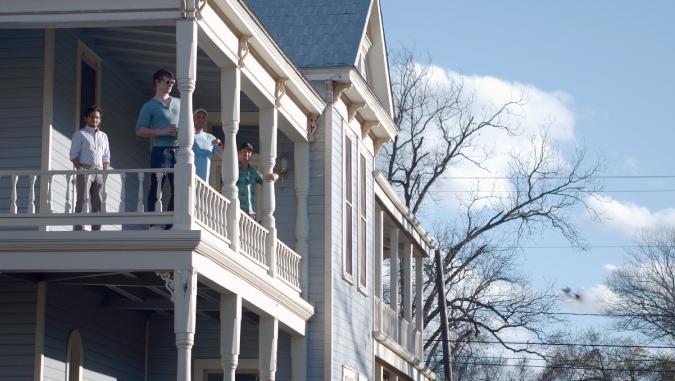 Second floor wrap around porch overlooking East Austin, Texas