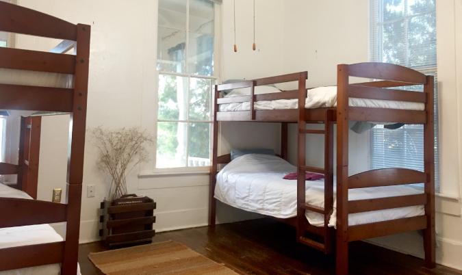 Hostel dorm room bunk beds