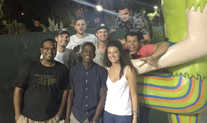 Hostel guests out with Brent Underwood mini-golfing