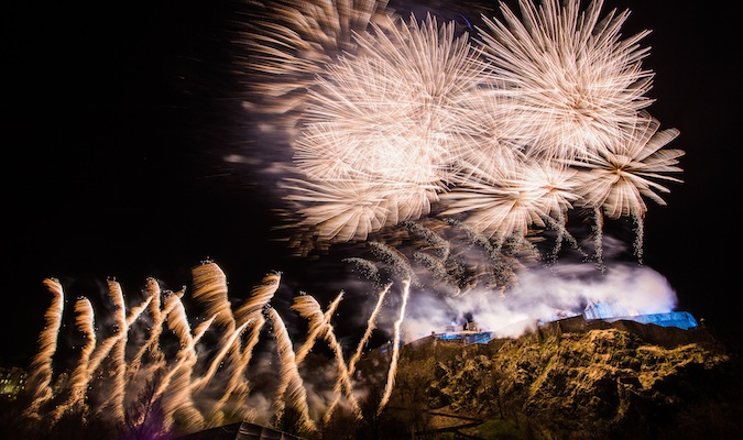 Bursts of fireworks fill the Scottish sky
