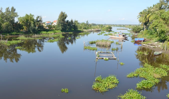 Gorgeous view of the river from the bridge on the way to Hoi An, Vietnam