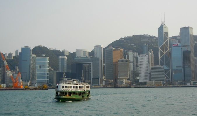 The Star Ferry crossing the river to Kowloon Island