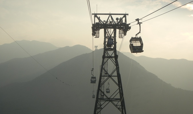 The 360 Ngong Ping cable car at dusk