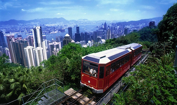The red Peak Tram going up Hong Kong Island's tallest mountain