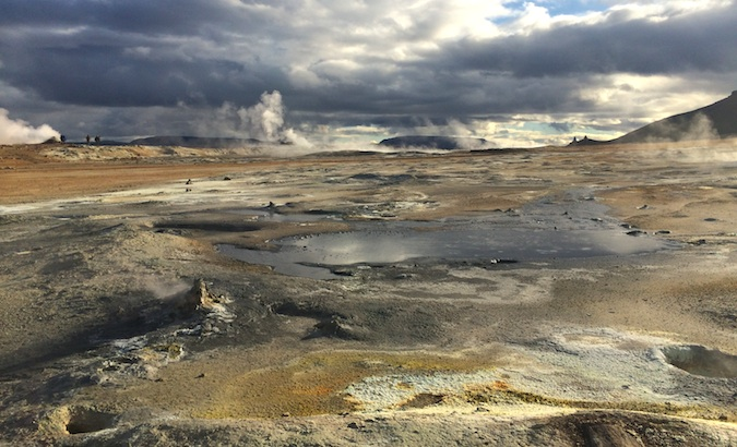 Sulfur pools at Hverir near Lake Myvatn in the north of Iceland