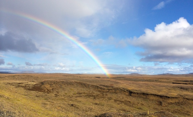 majestic glowing rainbow over Iceland seen during my travels