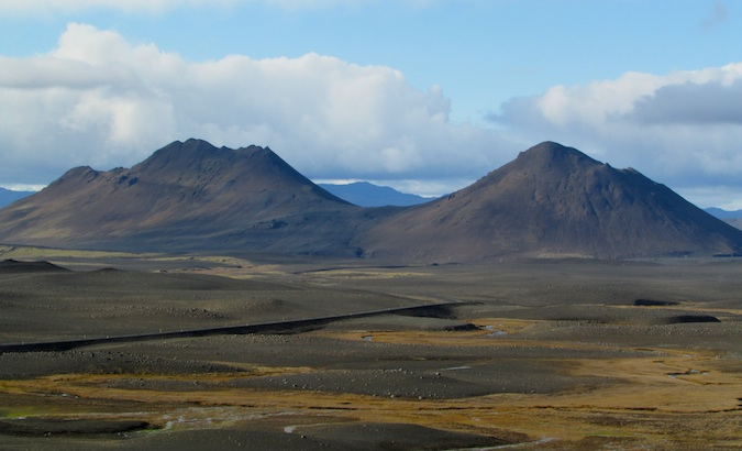 beautiful landscape on the way to Myvatn in the Icelandic north