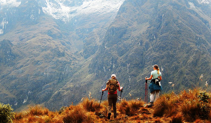 Two women hiking the Inca Trail