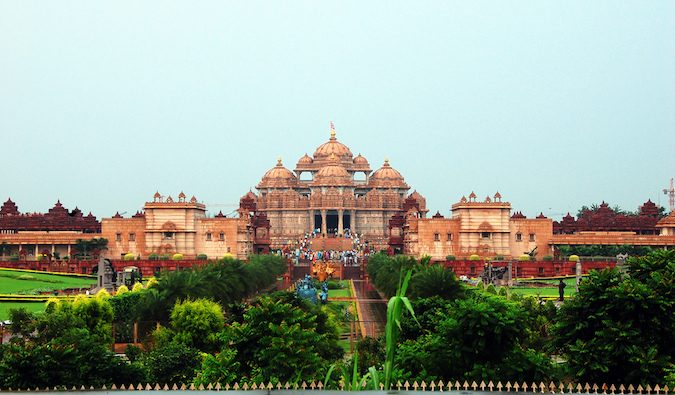 A color photo of Akshardham in India