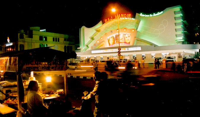 Raj Mandir Cinema at night in Jaipur, India