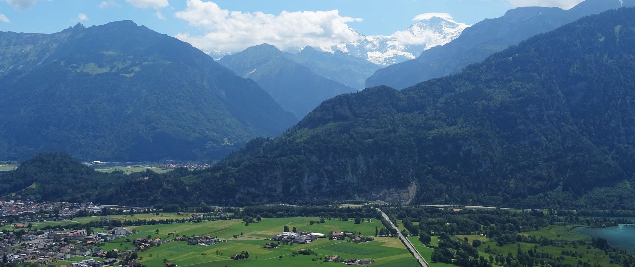 green mountainous landscape in Interlaken, Switzerland