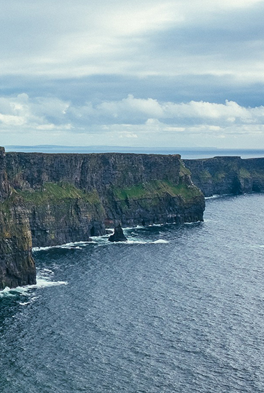 view of the Cliffs of Moher on an overcast day in Ireland