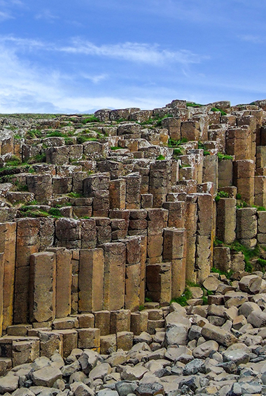 the rare rock formations at the Giant's Causeway in Northern Ireland