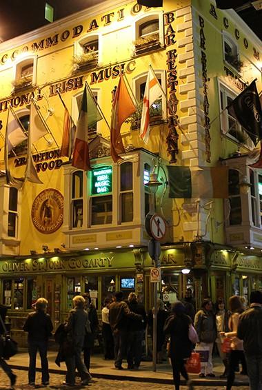 Temple Bar at night in Dublin, Ireland