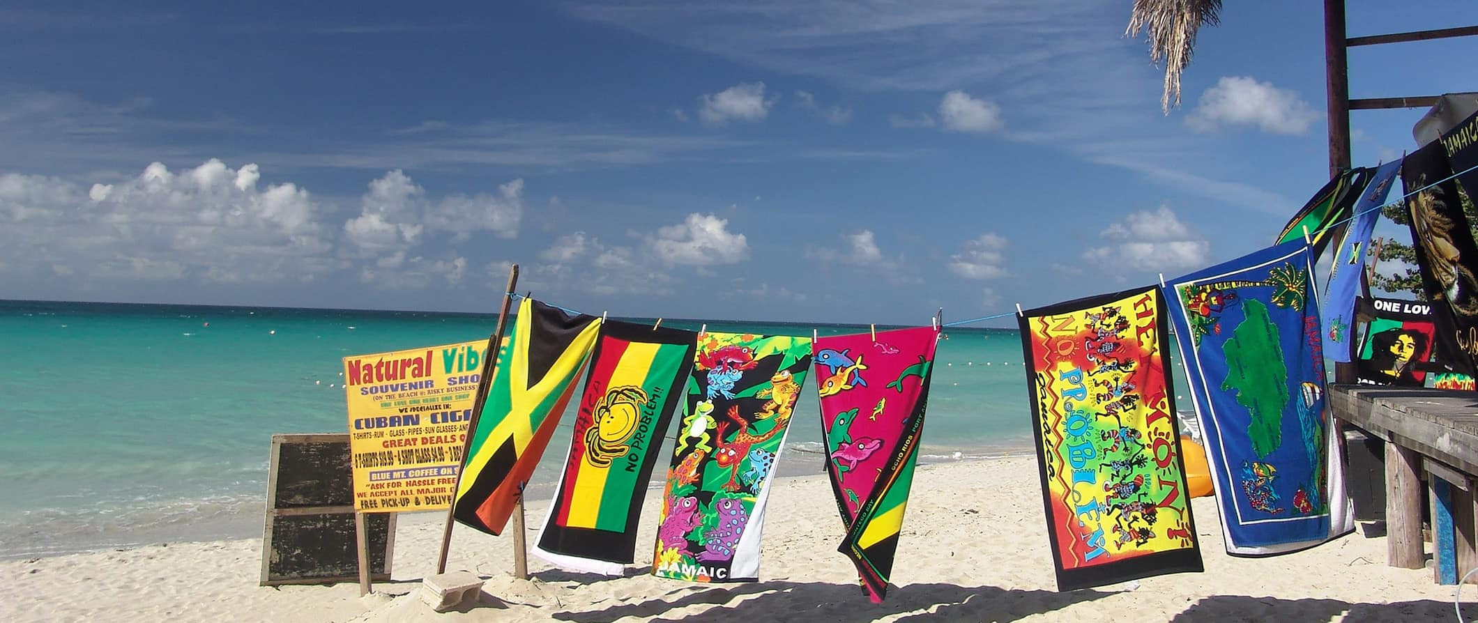 souvenirs on a beach in Jamaica