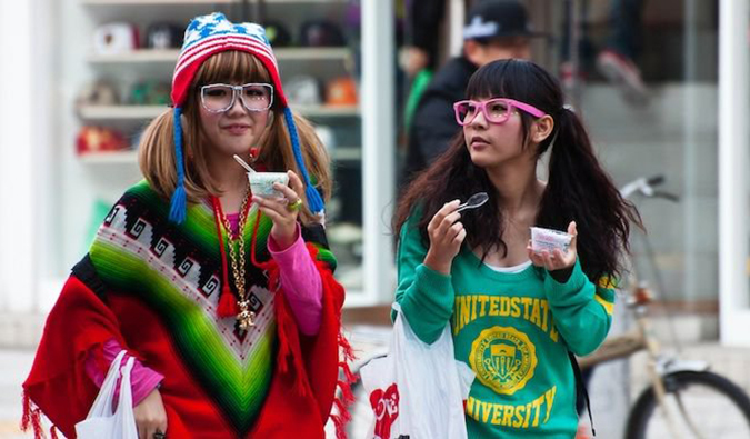 Two girls in Japan illustrating the quirky Japanese fashion trends