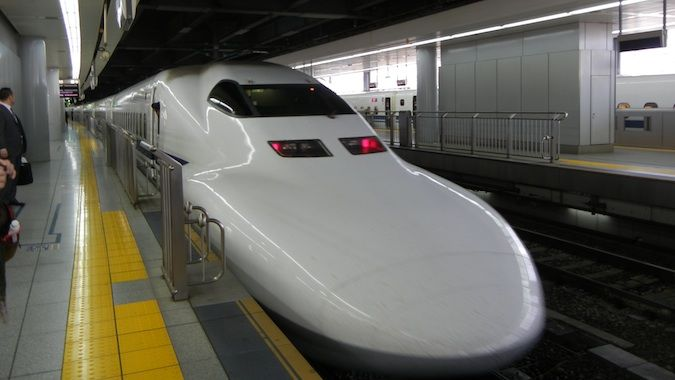 One of the many lightning-fast bullet trains that race around Japan