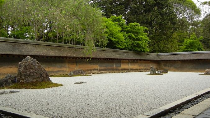 A well-manicured sand and rock Zen garden in Kyoto, Japan