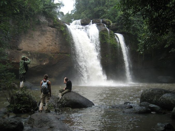 A waterfall surrounded by lush jungle in Khao Yai National Park