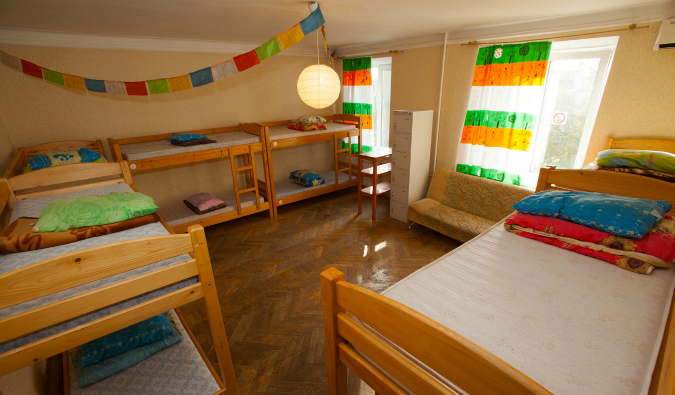 Orange dorm room in Central Station in Kiev, Ukraine