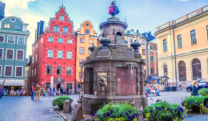 Beautiful old buildings in Gamla Stan, Stockholm, Sweden