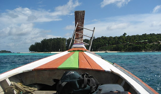 view from the bow of the boat arriving in Ko Lipe