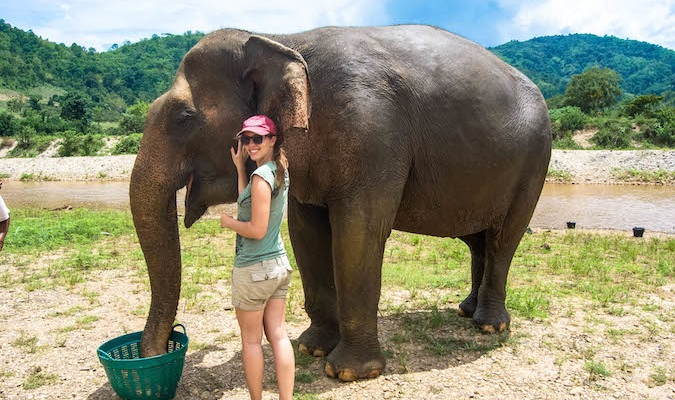 Solo female traveling Kristen feeding an elephant in Thailand