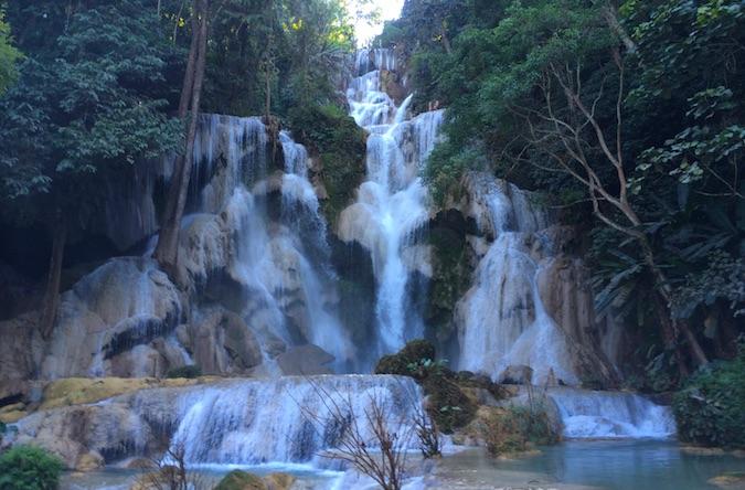 waterfalls at Kuang Si in Laos