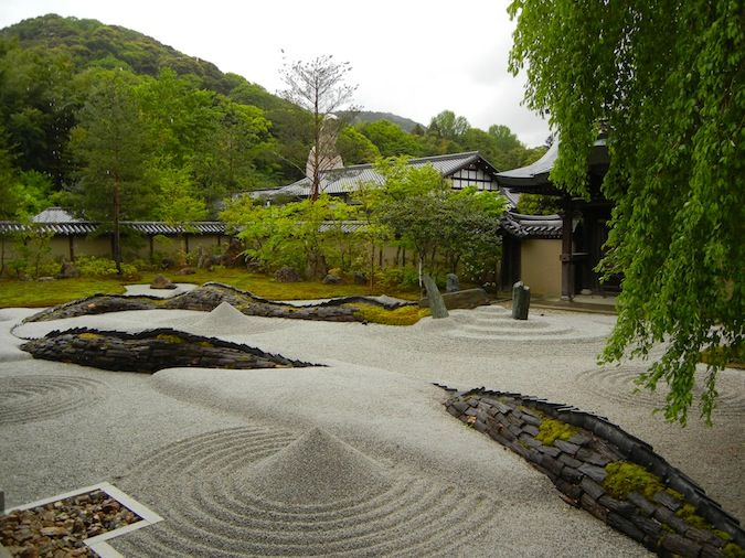 Kodaiji temple rock garden with raked sand in Kyoto, Japan