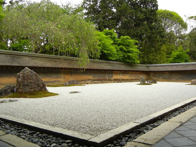 The famous rock garden at Ryoan-ji Temple in Kyoto, Japan