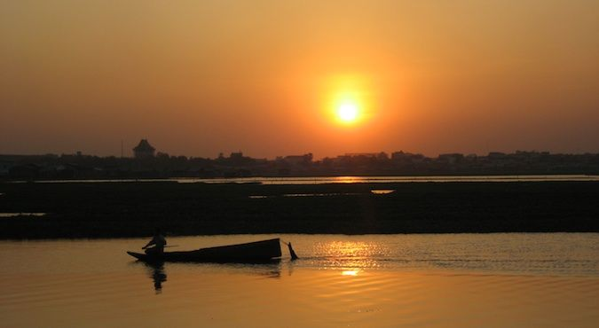 sunset on Beoung Kak Lake before it was destroyed in 2007