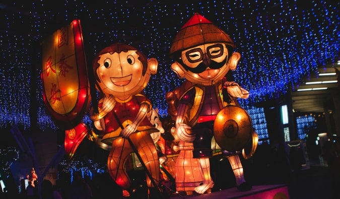 A float of two large figures at the Taipei Lantern Festival