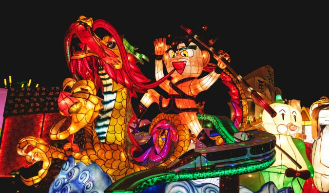 A man riding a dragon at the Taipei Lantern Festival