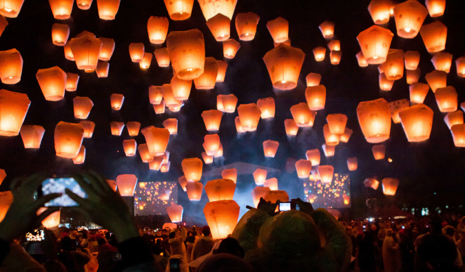 Hundreds of lanterns floating at the Taipei Lantern Festival
