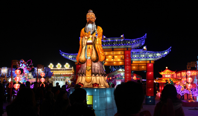 A large float of a man at the Taipei Lantern Festival