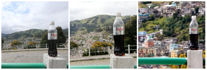 Triple photo of a coke light using the zoom lens
