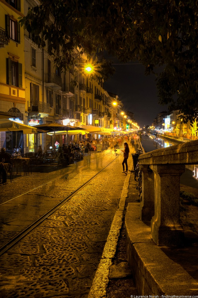 Romantic photo of a nighttime street and canal in Europe