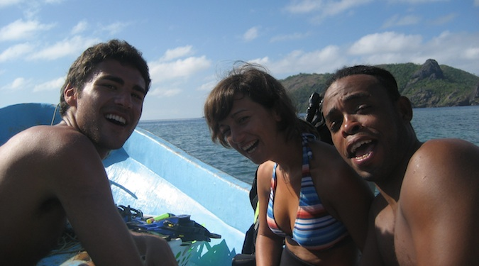 friends on a boat