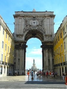 lisbon portugal shopping street with arches
