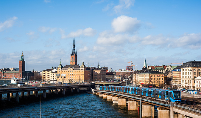 an aerial view over the hisoric Gamla Stan area of Stockholm, Sweden